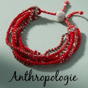 BNWT ANTHRO Shine Bright Red Glass Beads Bracelet
